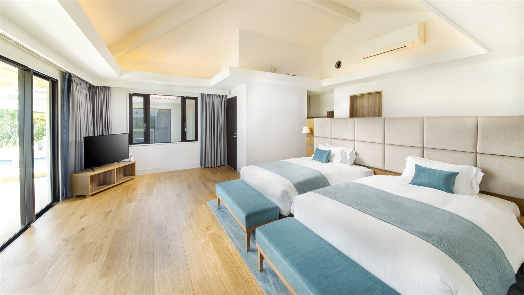 【プレミアムコテージJINWA】ベッドルーム(ツイン2室・4〜5名1室)