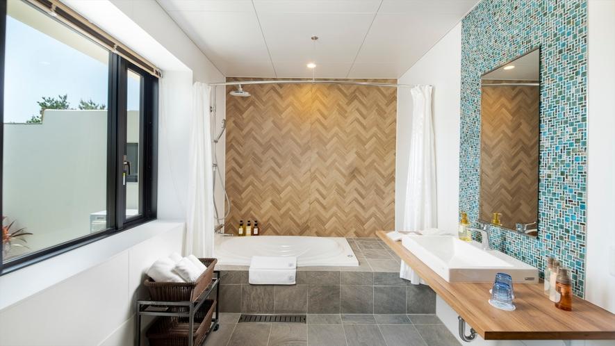【プレミアムコテージJINWA】ゆったりとしたバスルーム
