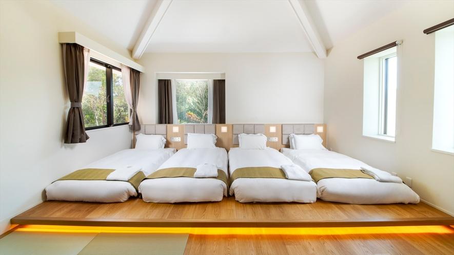 【プレミアムコテージJINWA】ベッドルーム(ツイン×2室・4~5名×1室)