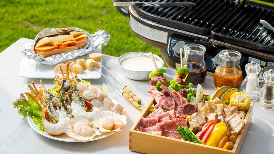【プレミアムコテージJINWA・BBQ】地元の野菜やお肉を盛り沢山にご用意※イメージ