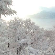 *【客室からの眺め】冬は洞爺湖と樹氷の森が目の前に広がり、神秘的な雰囲気。