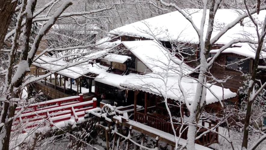 *冬外観/周りを覆うほどの積雪。都会ではなかなか見られません。