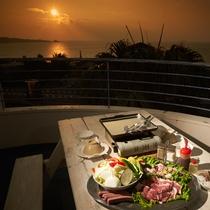 夕日を眺めながらBBQをお楽しみ頂けます。