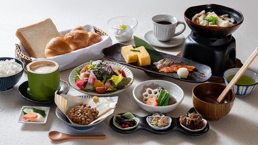 *【朝食】1日の元気は朝食から。自家製豆腐や納豆をはじめ、地産地消の豪華な朝食です