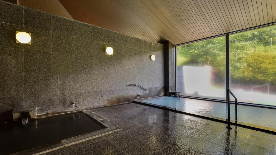 *【大浴場(男湯)】雄大な久住山を眺めながら、天然温泉をお楽しみください。