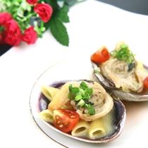 夕食◆大アサリは創作料理で