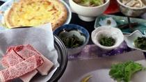 米沢牛の陶板焼き付き夕食