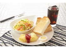 朝食メニュー③ビタミンサラダ&チーズオムレツセット