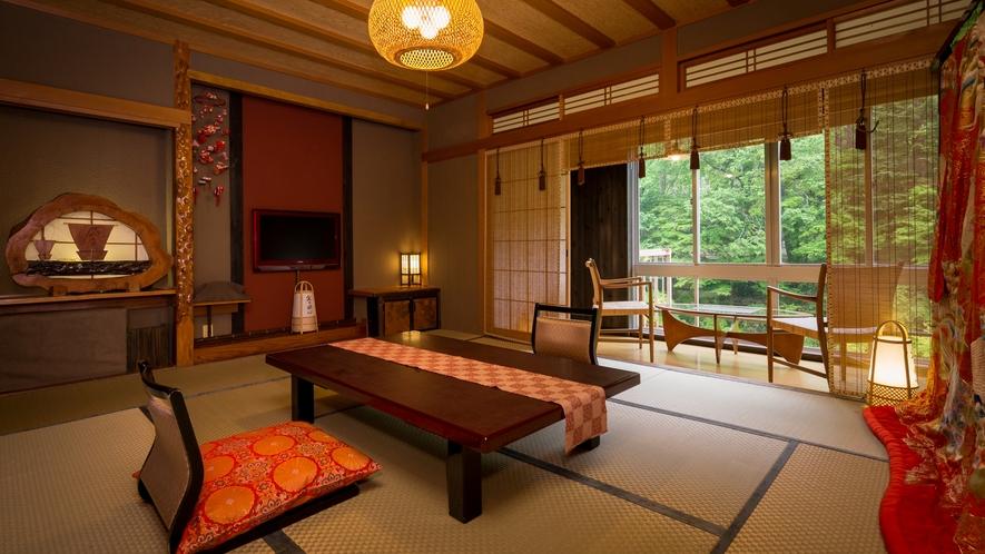 昔懐かしい・・・土壁造りの客室。。。湯西川清流を望む・・・絶景のロケーション。。。【西館客室一例】