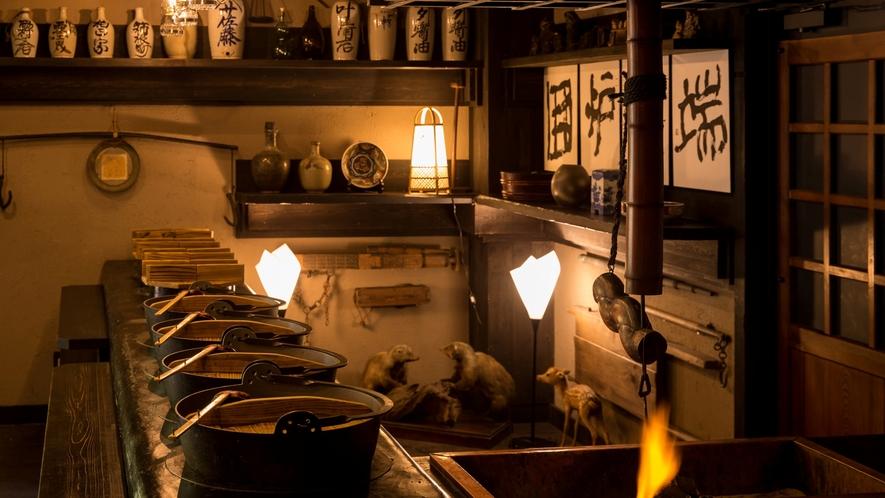 名物囲炉裏料理や田舎料理『かまど』を使用した秘伝の武家料理と地産地消ならではの創作郷土料理。。。