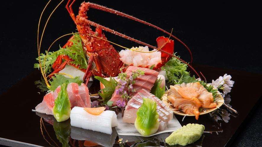 *【ご夕食(一例)】グレードアップ/お造り・伊勢海老姿盛り付き大皿