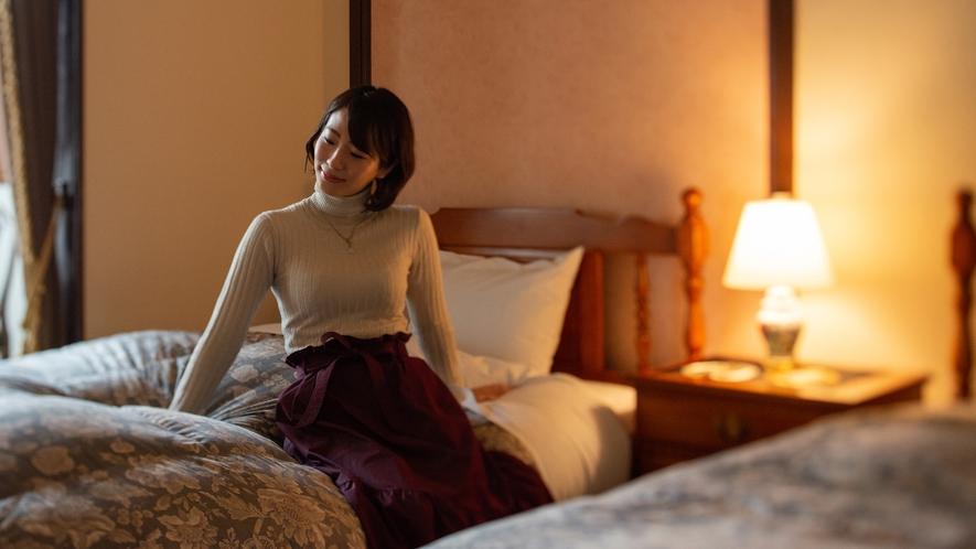 *【洋室ツイン:らんの間(38平米)】2階/ベッドルーム