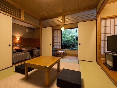【切石風呂付き和洋室】 和室8畳+ツインベッド+ソファー
