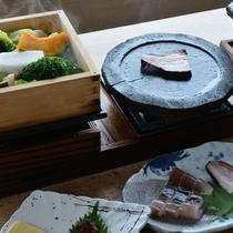 陶板焼と野菜のせいろ蒸し