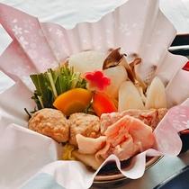 【旬彩会席】野菜たっぷりの地鶏鍋 ※写真イメージ