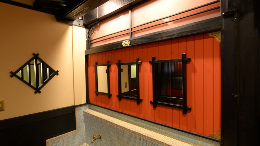 *【2階フロア洗面所】共同の洗面所になります。1人1人格子の鏡をお使いいただけるデザインに!