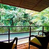 温泉半露天付 和室 (川沿い)からの眺望