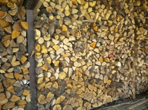 冬に使う薪を保管