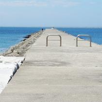 *[阿字ヶ浦海岸海水浴場]防波堤では釣りをする人の姿も。磯釣りスポットとしても人気。