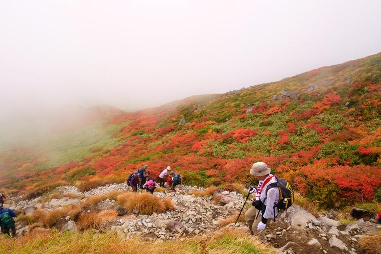 秋紅葉の月山