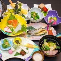 *【夕食全体例】滋養あふれる自然の恵みに舌鼓…。山川の幸をこの機会にぜひご賞味下さい。