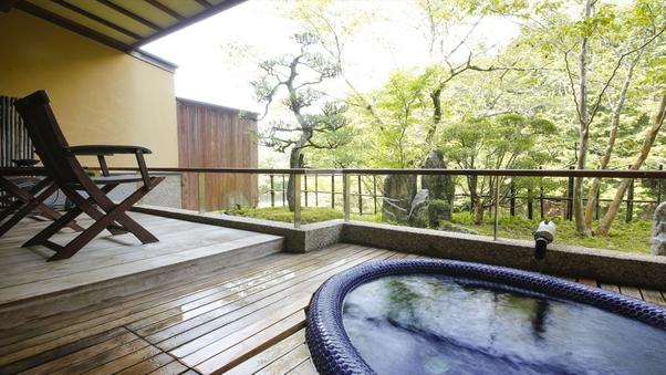 モザイクタイル露天風呂+和室6畳+ツインベッド+庭テラス