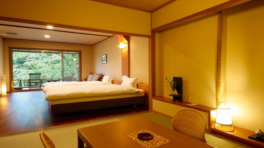 《山吹 134号室》岩露天風呂+和室6畳+ツインベッド+庭テラス