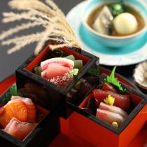 信州サーモンや岩魚、鯉など地元食材を使ったお造り(夕食一例)