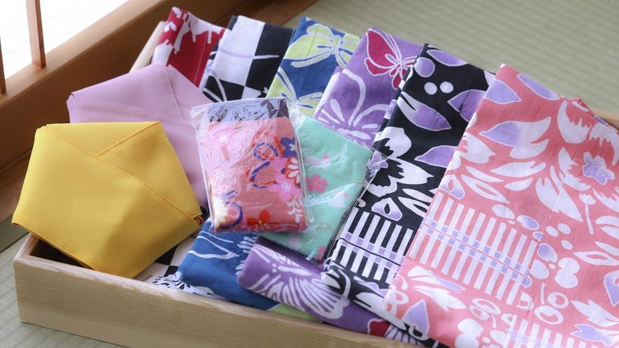 ■全お部屋に女性限定特典の色浴衣と湯足袋をご用意しております