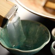 水菓子の心太は、黒蜜やきな粉をつけて(夕食一例)