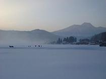 冬の古海の夕景