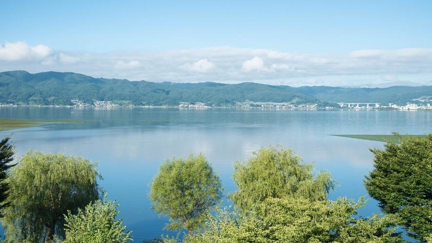 客室からの諏訪湖の眺め一例