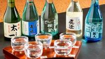 【地酒】利き酒セット。諏訪の日本酒五大蔵元の呑み比べ。