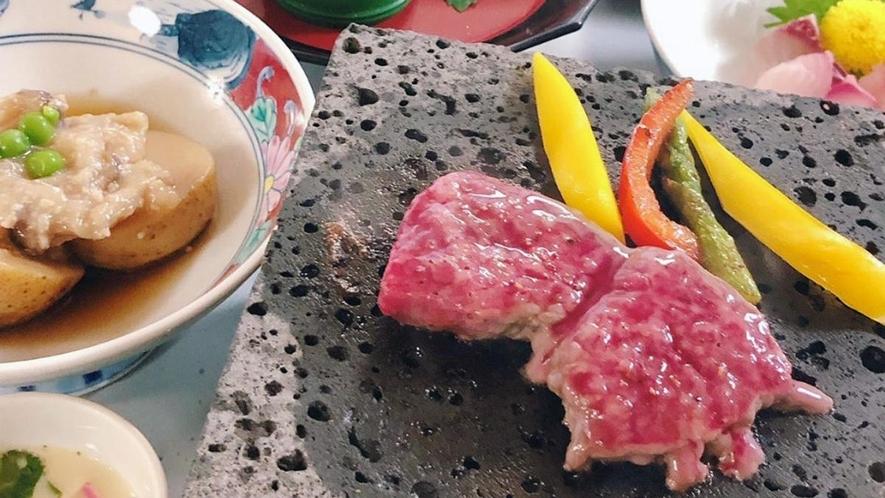 【信州プレミアム牛溶岩焼】 溶岩で焼く信州牛ステーキをご堪能くださいませ
