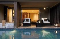 露天風呂付テラス付和洋室(57平米)・1階(池風景有)(B)