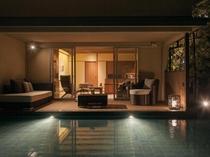 露天風呂付テラス付和洋室(55平米)・1階(池風景有)(A)