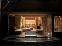 露天風呂付テラス付和洋室(52平米)・1階(専用足湯有)(C)