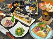 【夕食】素材の味を活かしたおふくろの味を清津館オリジナルの田舎料理に込めてお楽しみいただけます。