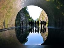 【清津峡「Light Cave/ライトケープ」】水鏡が映し出す幻想的なアート作品をお楽しみください。