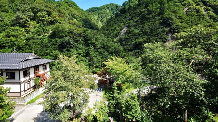 【和室14畳(トイレ付)】客室から大自然を望むことができます。
