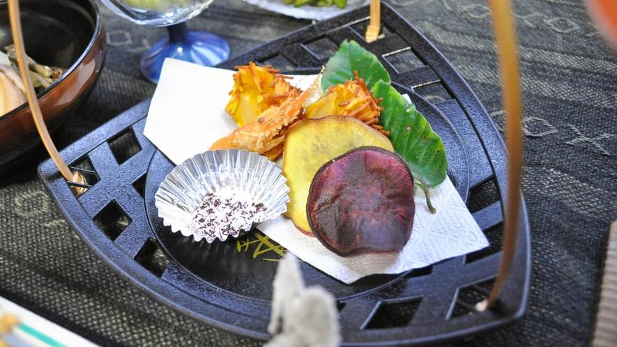 【夕食】クリとエビの天ぷら。