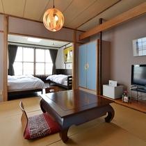 「和洋室」一例。お部屋は全て洗面台とトイレを完備しております。