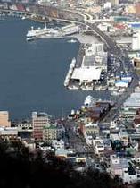 冬の函館山散策路から