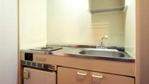 和洋室のミニキッチン。食器はご持参ください。