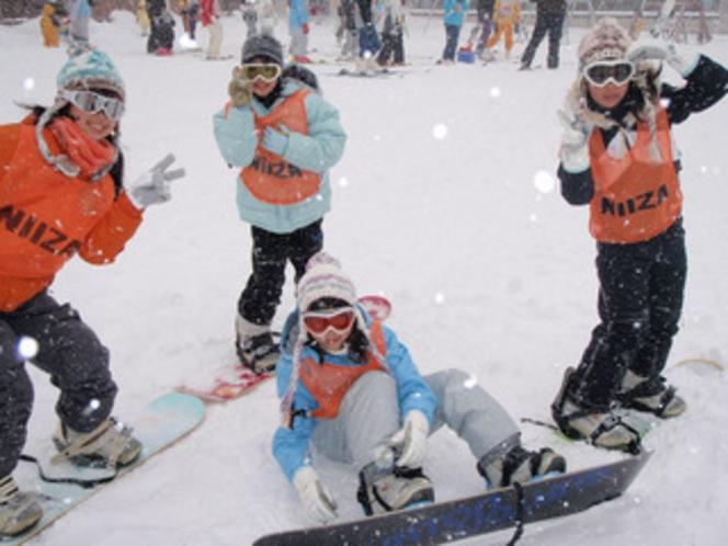 スキー場でピース