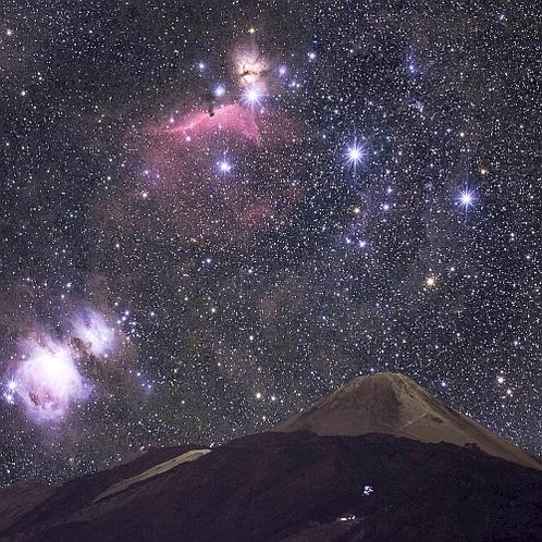 富士山上のオリオン大星雲・馬頭星雲・M78星雲