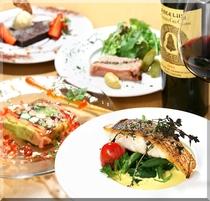 ディナーコースとワイン
