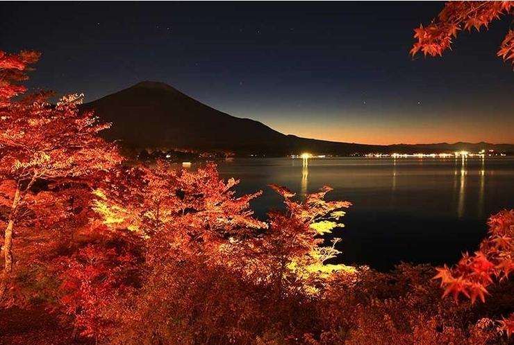 ' 日本の渚 百選 ' の山中湖『夕焼けの渚』の紅葉 Ⅱ
