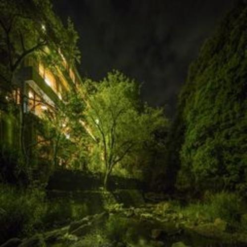 夜の外観イメージ。6月はホタル鑑賞も♪