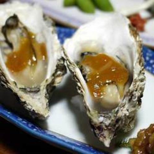 夕食一例(焼き牡蠣の柚子味噌)